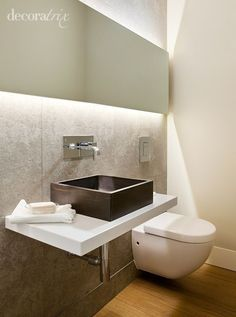 Here is a collection of the latest small bathroom designs for you, if you are bored with your old bathroom, you can find the latest ideas here. Large Bathrooms, Modern Bathroom Design, Bathroom Designs, Small Bathroom Inspiration, Bathroom Ideas, Wall Hung Toilet, Minimal Bathroom, Laundry In Bathroom, Bathroom Styling