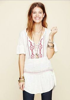 Free People El Mirage Top in Ivory Combo ~ The Blue Rose
