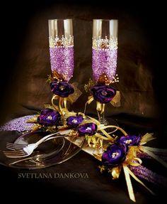 Wedding Champagne Flutes Wedding Champagne Glasses Toasting Flutes Gold Blush…