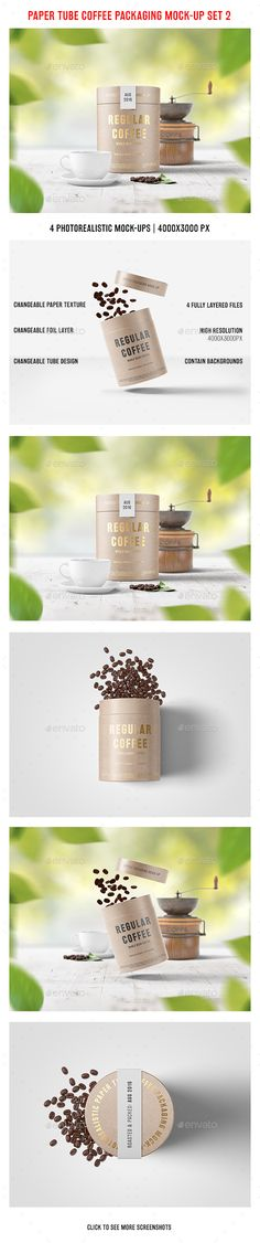 Paper Tube Coffee Packaging Mock-Up Set 2. Download here: https://graphicriver.net/item/paper-tube-coffee-packaging-mockup-set-2/17693579?ref=ksioks