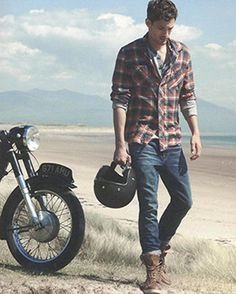 Max Rogers for Bloomingdales  Plaid shirt + jeans = casual menswear style