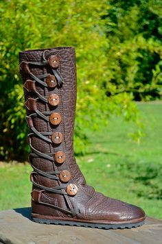 Chocolate Brown Moccasin - Knee High Boots - Leather Boots Women- Custom Moccasin Boots - Leather Boots Men - Buffalo Moccasin-Boots