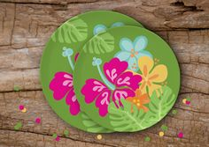 Aloha! Make your backyard little Hawaii this summer. Throw a Luau! | Coasters sold on the Julie Bluet Etsy.
