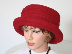 Hat / Cloche of boiled wool   red  Womans Hat  by MermaidsHatbox
