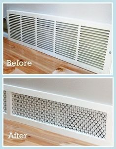 #20. Give your return air grille a makeover. -- 27 Easy Remodeling Projects That Will Completely Transform Your Home Home Design Decor, Easy Home Decor, Cheap Home Decor, House Design, Design Ideas, Design Trends, Design Bedroom, Home Improvement Projects, Home Projects
