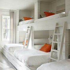 bunk room features a shiplap walls lined with a wall of three side Love the ship lap and the simple yet very space accommodating design for bunk room.Love the ship lap and the simple yet very space accommodating design for bunk room. Bunk Bed Rooms, Bunk Beds Built In, Kids Bunk Beds, Corner Bunk Beds, L Shaped Bunk Beds, Country Boys Rooms, Sleepover Room, Bunk Bed Designs, Bedroom Designs