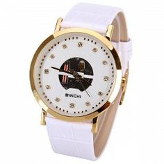 $11.49 Binchi Women Watch 12 Small Dots Hour Marks with Hollow out Round Dial Genuine Leather Watchband