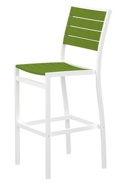 Polywood A102-13LI Euro Bar Side Chair in Textured White Aluminum Frame / Lime