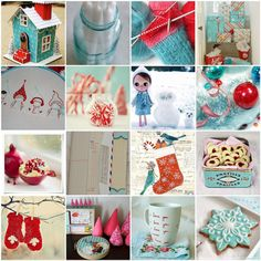 aqua and red Christmas montage