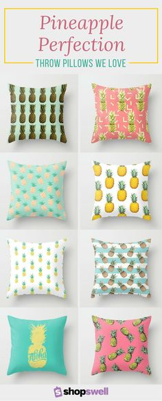 Micro prints are trending in home decor and these pineapple print throw pillows leave us hungry for more.