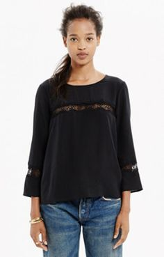 Silk Lace-Inset Top