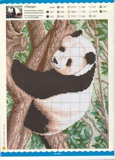 Panda Bear in tree Beaded Cross Stitch, Crochet Cross, Counted Cross Stitch Patterns, Cross Stitch Designs, Cross Stitch Embroidery, Panda Craft, Christmas Embroidery Patterns, Cross Stitch Boards, Cross Stitch Animals