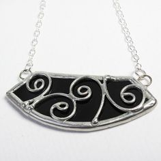 Swirling Onyx - Sterling Silver Stained Glass Necklace by faerieglass