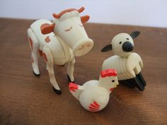 Vintage Fisher Price Farm Animal Set Cow Sheep Chicken by jessamyjay on Etsy