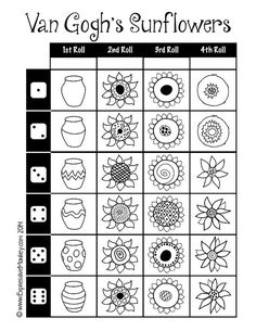 Van Gogh sunflowers Make a vase of sunflowers using this fun dice drawing sheet from Expressive Monkey. Art Sub Plans, Art Lesson Plans, Middle School Art, Art School, High School, Fleurs Van Gogh, Documents D'art, Van Gogh Arte, Arte Elemental