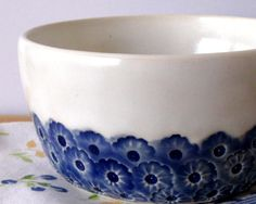 Ceramic Bowl - Morning Glory Series - Hand Thrown (LOVE this!)