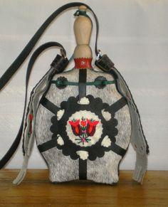 "Hungarian traditional handmade flask - ""csikóbőrös kulacs"". Eastern Europe, Teacher Stuff, Flask, Folk Art, Fashion Backpack, Legends, Costume, Traditional, Embroidery"