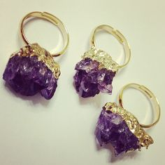 Raw Amethyst Rings and other Crystal Jewelry at www.moonmetaljewelry.com $28