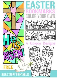 Easter Coloring Pages, Bookmarks sunday school crafts Easter Bible Bookmarks Easter Art, Easter Crafts For Kids, Easter Ideas, Kids Bible Crafts, Easter Jesus Crafts, Sunday School Lessons, Sunday School Crafts, Children's Sunday School, Sunday School Activities