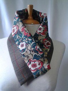 Cette écharpe écossaise. am · CACHE COU FEMME · Green check Country Tweed  Wool Scarf Cowl Neckwarmer with Tana Tissu Imprimé Fleur Des 581e9bd9288