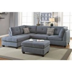 Living Room Sectional Sofa Chaise Ottoman Blue Grey L-Shape Sofa Furniture - Sofa Living - ideas of Sofa Living - Living Room Sectional Sofa Chaise Ottoman Blue Grey L-Shape Sofa Furniture Price : 3 Piece Sectional Sofa, Couch With Chaise, Sofa Set, Gray Sectional, Couch Sofa, Grey Sofas, Couches, Charcoal Sectional, Living Room Sofa Design