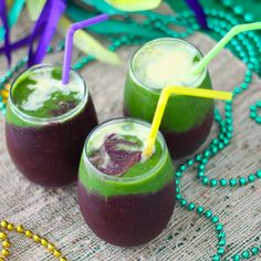 Mardi Gras Smoothies from Living Well Kitchen #MardiGras #vodka #RecipeReDux