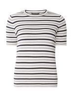 Womens Navy and Grey Stripe Tee- Multi Colour