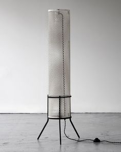 "Perforated metal floor lamp, 40"" x 8"", Holland, 1950's. R 20th Century Gallery"