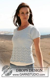 "DROPS top with short sleeve and lace pattern in ""Muskat"". Size XS - XXXL ~ DROPS Design"