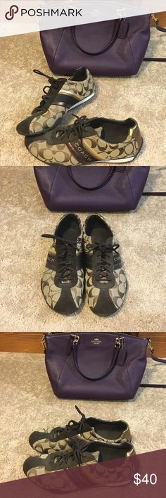 COACH Sneakers COACH • Sneakers/Tennis Shoes • Authentic • Color: brown • Size: 7 1/2 Women's • Material: cloth with suede and leather accents • great condition • no stains, wear, or scuffs • only worn a couple of times • price is negotiable • purse not included Coach Shoes Sneakers