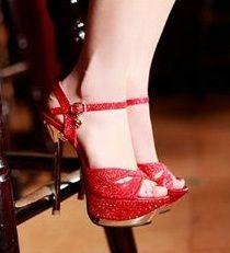 Sandália Plataforma Alta vermelha /jahsaude