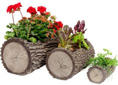 Starting your own garden doesn't have to be daunting. Start as small as you like with a windowsill garden. These space-saving planters are just right for a modest indoor garden—whether you're a green thumb or a chronic plant killer. Garden Yard Ideas, Garden Crafts, Garden Projects, Garden Pots, Log Planter, Wooden Planters, Diy Planters, Little Gardens, Small Gardens