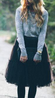 Amore Tulle Midi Skirt in Black by Karlie Rae