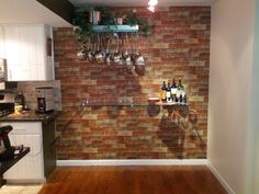 lisa, this is wallpaper!  looks pretty real online!!!!  for my kitchen!~  $42 amazon.com Customer Image Gallery for Wallpaper Faux Rust Tuscan Brick Wall, Looks Real Up!