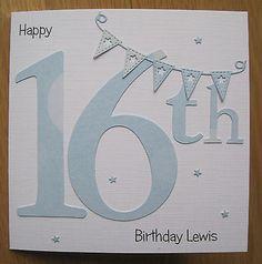 personalised handmade 13th 14th 16th birthday card