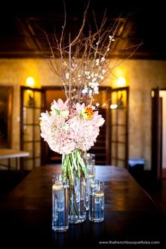 Beautiful Cherry Blossom Floral Centerpiece - The French Bouquet - Jesse Reich Photography - Zinke Design