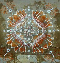 Rangoli Designs Latest, Rangoli Designs Diwali, Rangoli Designs Images, Beautiful Rangoli Designs, Mehandi Designs, Lotus Rangoli, Kolam Rangoli, Flower Rangoli, Padi Kolam