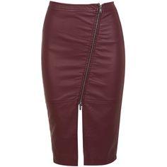 Miss Selfridge Leather Effect Burgundy Skirt (2.170 RUB) ❤ liked on Polyvore featuring skirts, burgundy, red knee length skirt, red skirt, leather zipper skirt, zipper skirt and leather skirt
