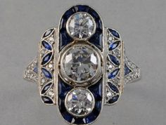 Art Deco Diamond & Sapphire Ring More