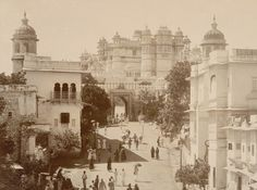 Udaipur Palace in the early 19th century, Rajasthan, India. Built by Maharaja Udai Singh