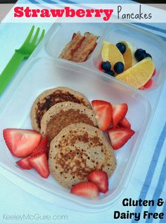 Strawberry Lunchbox Pancakes  #GlutenFree #DairyFree #EasyLunchboxes Breakfast for Lunch