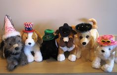 """""""Top"""" off your spring with a party hat for your pooch! With hats for every occasion, Fido Park Avenue is the perfect place to complete your pooch's outfit!"""