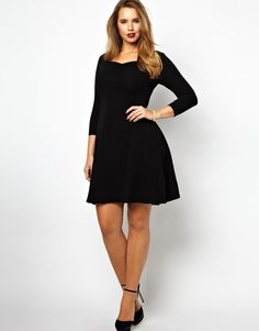 ASOS Curve | ASOS CURVE Exclusive Skater Dress With 3/4 Sleeve at ASOS