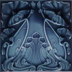 """walzerjahrhundert: """"Art Nouveau Majolica Ceramic Tiles, ca 1890 - 1910 """" Motifs Art Nouveau, Azulejos Art Nouveau, Design Art Nouveau, Art Nouveau Tiles, Vintage Tile, Decorative Tile, Arts And Crafts Movement, Tile Art, Antique Art"""