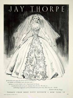 1956 Ad Vintage Jay Thorpe Wedding Dress Bride Bridal Gown Fashion YBSM1