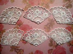 Venice Lace Fan Appliques Ivory x 6 by PrimroseLaceRibbon on Etsy, $4.50