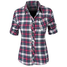 Button Down Shirts ❤ liked on Polyvore featuring tops, button up top, tartan plaid shirt, button up shirts, cotton plaid shirt and plaid button up shirts