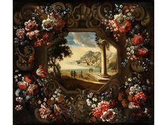 Abraham Brueghel and Gennaro Greco — The Gulf of Gaeta with Flower Garland Floral Garland, Flower Garlands, Fine Art Auctions, Tumblr, Auction Items, Vanitas, Rococo, Baroque, Old Master