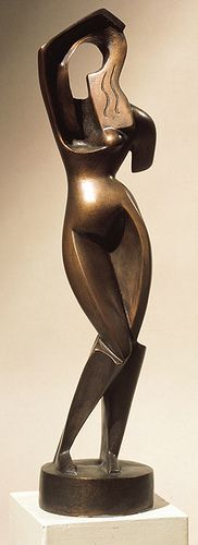"Aleksandr Archipenko, ""Woman Combing Her Hair"", 1915.  Based off of the Venus de Milo, a Greek Classical sculpture c. 180 BCE. Classical sculptures wore an ethos face - a calm expression representing reason. Classical sculptures are those most often associated with Ancient Greece, and therefore with the birth of Western democracy.  Archipenko's sculpture echoes the Venus minus the ethos face and rationality. It represented the insanity the Western world had come to in WWI."