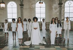 Beyonce, Solange, and Tina Knowles posed with the rest of Solange's wedding party in an official portrait for Vogue.